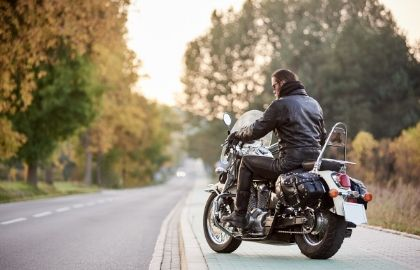 motorcycle with man in leather jacket