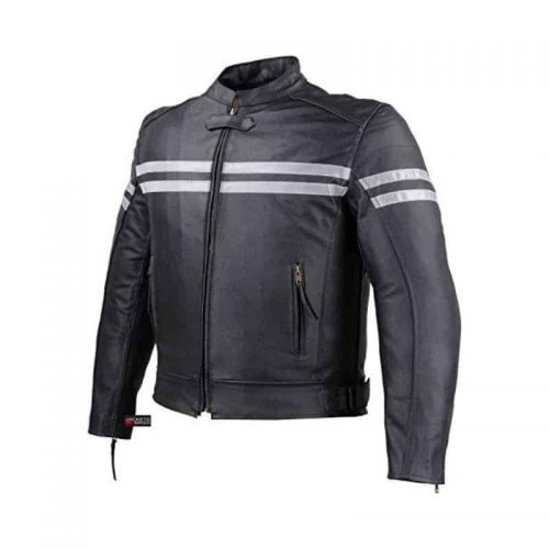 CE Armor Moto Leather Motorcycle Jacket for Men color black