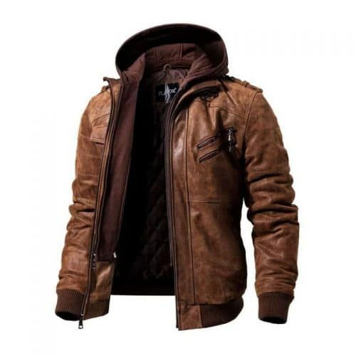 FLAVOR Men Brown Leather Motorcycle Jacket