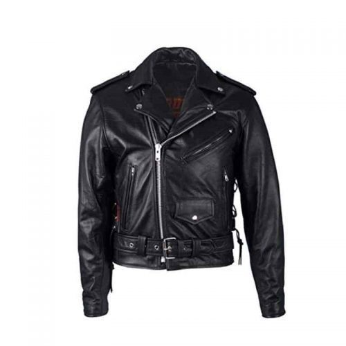Hot Leathers Motorcycle Jacket for Men color black