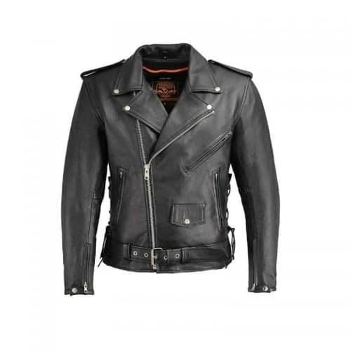 Milwaukee leather motorcycle jacket for men colored black