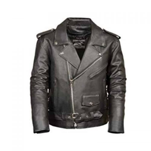 Nomad USA Motorcycle Leather Jacket for Men color black