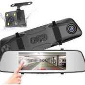 car rear view mirror with back up camera and pointing hand