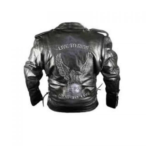 Viking Classic Cowhide Leather Motorcycle Jacket for Men color black